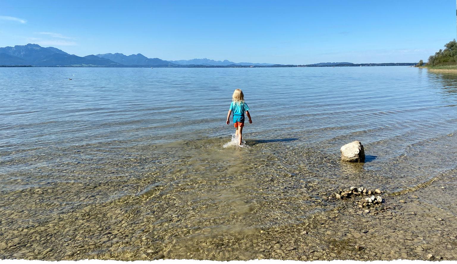 Ideal für Kids - sehr flacher Strand